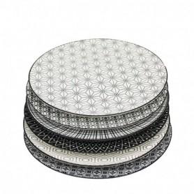 """Assiette ronde """"Komaê"""" en porcelaine PM - 6 designs noirs panachés - 21,5*1,8CM - Ard'time"""