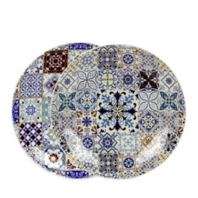 Assiette à dessert Belem PM - 18,5*18,5*2,5cm - 2 designs carreaux de ciment panachés - Ard'time