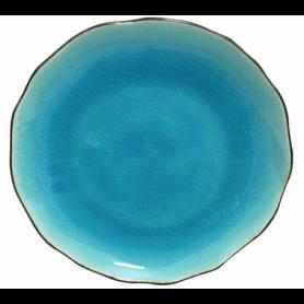 """Assiette en verre craquelé collection """"Myoko"""" - diam. 20.5*2.5CM - 3 coloris panachés: Gris, Vert, Bleu - Ard'time"""