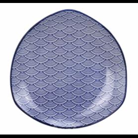 Assiette triangulaire collection Blue Lagoon - dim 17,5*17,5*2,5cm -4 designs panachés - Ard'time