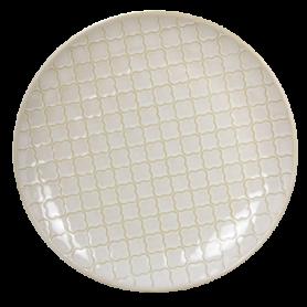 """Assiette diam. 21cm x H.2,5cm en grès - collection """"Matcha"""" - 2 designs panachés coloris crème - Ard'time"""