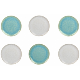 """Assiette à dessert """"Nacre"""" diam 20,2cm x H. 2cm en céramique émail réactif - 2 coloris panachés bleu et crème -  A création"""