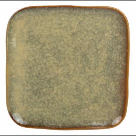 """Assiette à dessert """"Kubik"""" 20,9cm x H. 1cm - en céramique émail réactif - 3 coloris panachés violet, bleu et kaki - A création"""