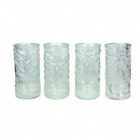 Lot de 4 verres Tiki bar transparents 480mL - 4 designs panachés - diam. 7 x H.15cm - boite couleur avec fenêtre Ard'time