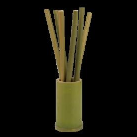 6 pailles en bambou dans un support en bambou - Livrées avec un mini goupillon - boite couleur Ard'time