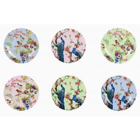 """Assiette """"Ozio"""" en porcelaine diam 19 cm - 6 designs panachés Oiseaux et Paons - Ard'time"""