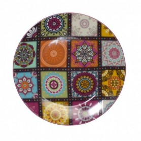 """Assiette à dessert """"GOA""""en porcelaine  PM - 19*2,5cm - 2 designs  panachés - Ard'time"""
