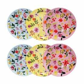 """Assiette à dessert """"Flowers""""  - 3 coloris panachés rose/jaune/bleu- porcelaine- diam 21 x h1,8 cm - Ard'time"""