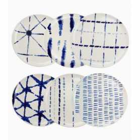 "Assiette PM diam 20cm H 3cm - 6 designs panachés ""Indigo Dye""  - Ard'time"