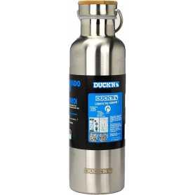 """Gourde inox 750ml - diam. 7,5cm - H: 25 cm - double paroi couvercle bambou - 9h de conservation de la température - """"Duck'N"""""""