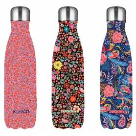 Bouteille 500ml isotherme Flowers 3 designs assortis Liberty, Floral et Cashmere DUCK'N