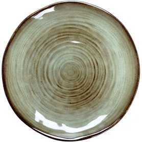 """Petite assiette en grès """"Cirk"""" Diam 21 cm - 2 Coloris panachés : blanc- gris / vert-marron- A Creation"""
