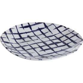 """Assiette à dessert """"Indigo Mood"""" en céramique Diam 21 x h 2,20 cm - 1 design blanc et quadrillage bleu - A Creation"""
