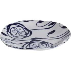 """Petite assiette """"Indigo Mood"""" en céramique Diam 16 x h 2 cm - 1 design blanc et fleurs bleues - A Creation"""