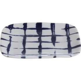 """Assiette carrée """"Indigo Mood"""" en céramique Dim. 11,4 x 11,4 x h 1,3cm - 1 design blanc et quadrillage bleu - A Creation"""