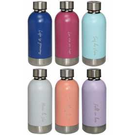 Bouteille isotherme couleur pastel textes laser Duck'N  420ml dans la boite cadeau- 6 coloris panachés