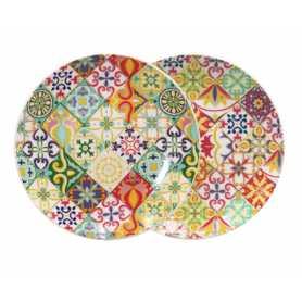 """Petite assiette """"Zellig"""" en céramique Diam 20,5 cm - 2 designs panachés"""