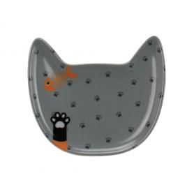 """Assiette en forme de chat """"Fish & Cats"""" - dim 18,2 x 19,5 x 2,3 cm - 6 designs panachés Ard'time"""