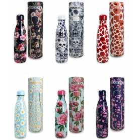 "PRE-ORDER Bouteille isotherme 500ml  ""Flower Wibe"" 6 designs assortis dans une boite cadeau cylindrique"