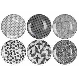 """Assiette petit modèle en porcelaine """"Kusamba""""- Dim 20,5 x 1,8  cm - 12 Designs panachés- Ardtime"""