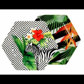"""Plateau hexagonal """"Corcovado"""" en porcelaine - 6 designs  panachés - 19,6 x 22,2 x 1,5CM - Ard'time"""