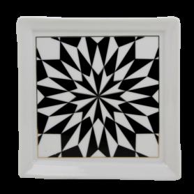 Assiette carrée en porcelaine 13cm x H. 1,3cm - 6 designs panachés Juliette - Ard'time