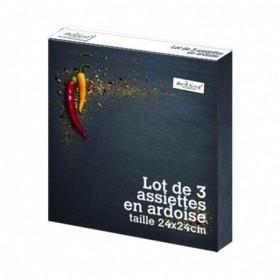 Lot de 3 assiettes en ardoise carrées 24 x 24 cm - Boîte couleur Ard'time